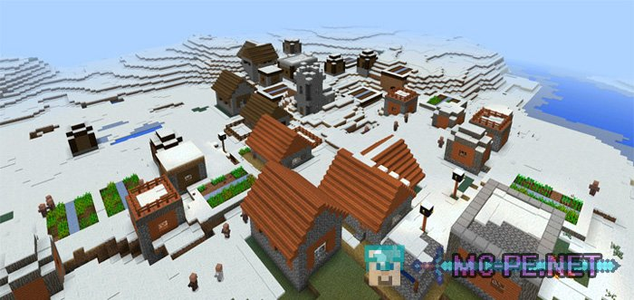 The village of Savannah in the snow biome or three settlements.